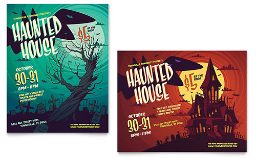 Haunted House Poster Template
