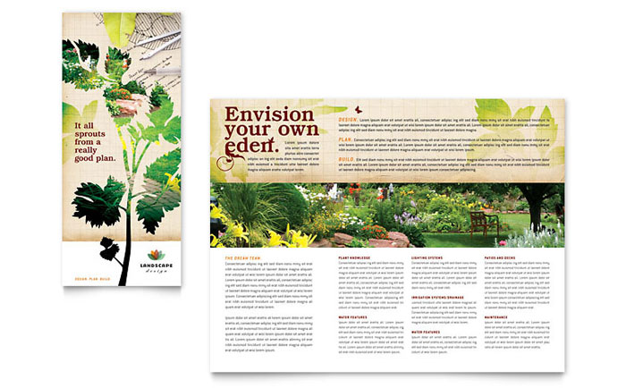 Landscape design tri fold brochure template design for Garden maintenance flyer template
