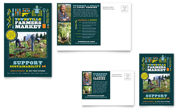 Farmers Market Postcard Template Design Download - InDesign, Illustrator, Word, Publisher, Pages
