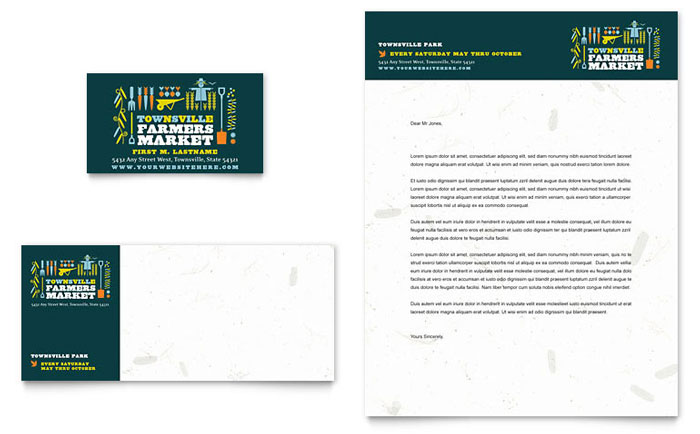 Farmers Market Business Card & Letterhead Template Design