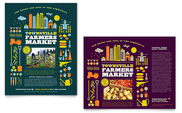 Farmers Market Poster Template Design Download - InDesign, Illustrator, Word, Publisher, Pages