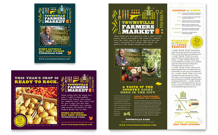 Farmers Market Flyer & Ad Template Design - InDesign, Illustrator, Word, Publisher, Pages