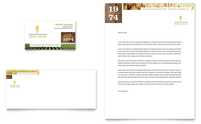 Farming & Agriculture Business Card & Letterhead Template Design Download - InDesign, Illustrator, Word, Publisher, Pages
