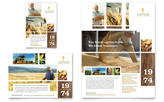 Farming agriculture flyer ad template design for Ad designs