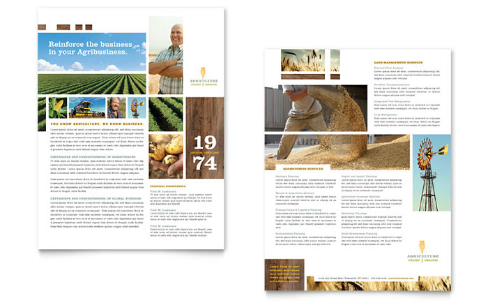 Farming & Agriculture Datasheet Template Design Download - InDesign, Illustrator, Word, Publisher, Pages
