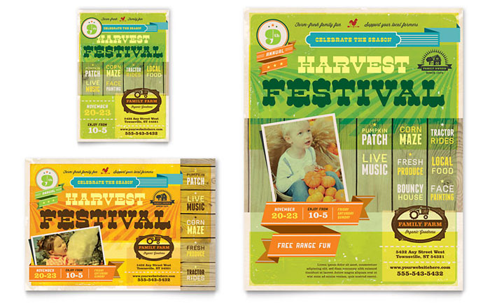 festival brochure design - harvest festival flyer ad template design