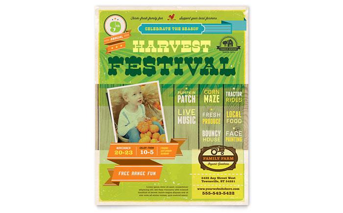 harvest festival flyer template design
