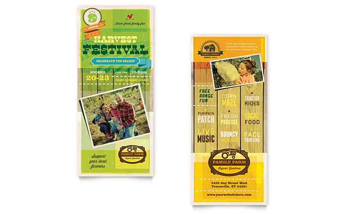 Harvest Festival Rack Card Template Design