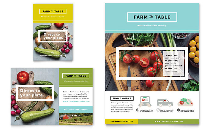 Organic Food Flyer Ad Template Design - Food brochure templates