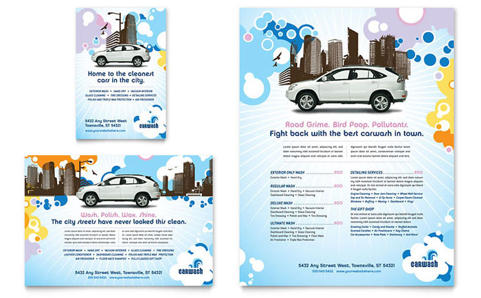 Car wash flyer ad template design for Car brochure template