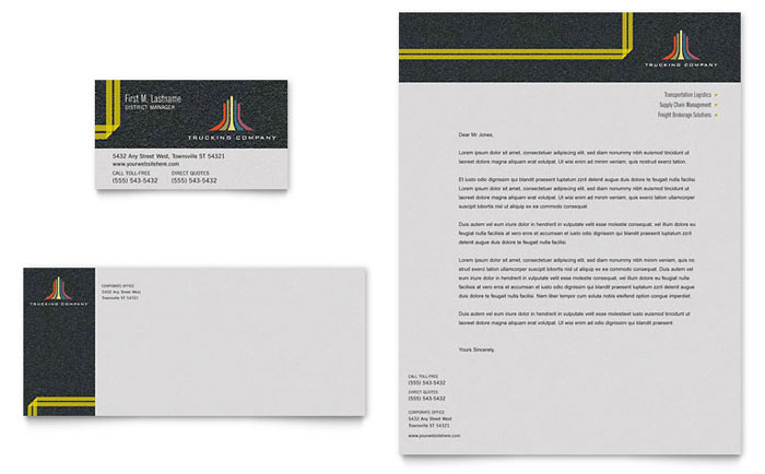 Trucking Transport Business Card Letterhead Template Design