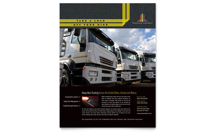 trucking  u0026 transport flyer template design