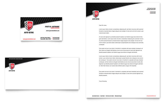 Auto Detailing Business Card Letterhead Template Design