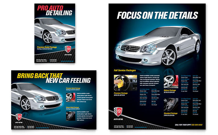 Auto detailing flyer ad template design for Car brochure template