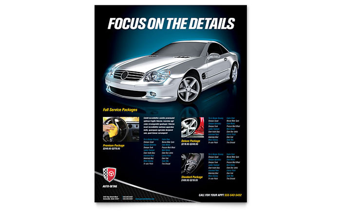 Auto Detailing Flyer Template Design Download - InDesign, Illustrator, Word, Publisher, Pages