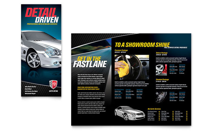 Auto detailing tri fold brochure template design for Car brochure template