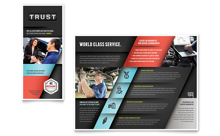Auto mechanic brochure template design for Car brochure template