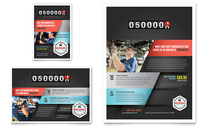 auto mechanic flyer ad template design