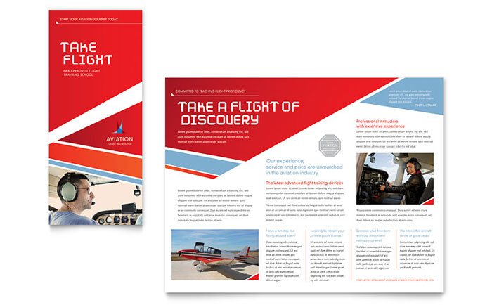 Aviation flight instructor brochure template design for Product brochure template word