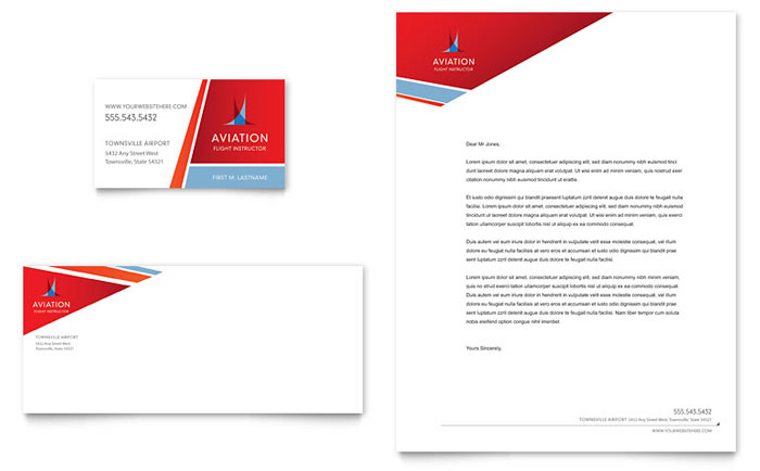 Aviation flight instructor business card letterhead template design colourmoves