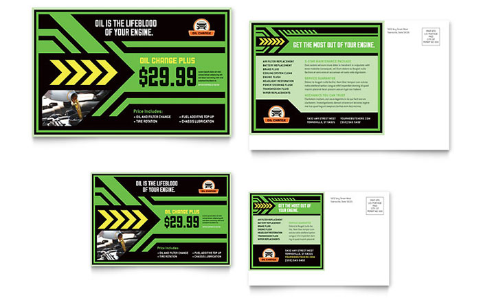 Oil Change Postcard Template Design Download - InDesign, Illustrator, Word, Publisher, Pages