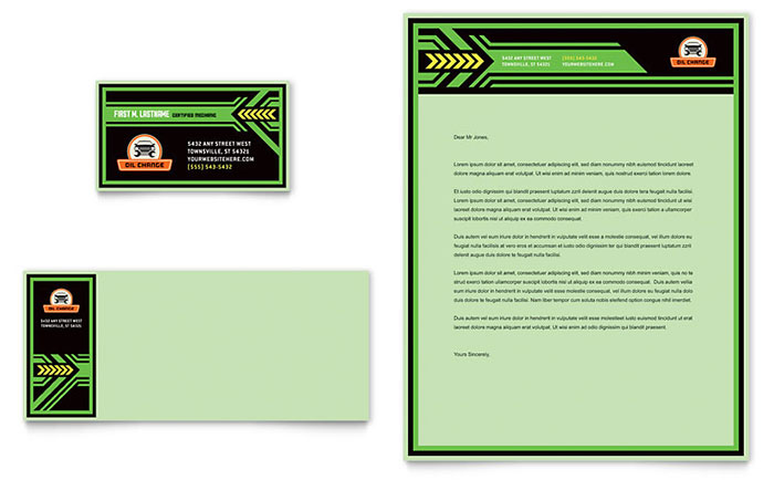 oil change business card  u0026 letterhead template design