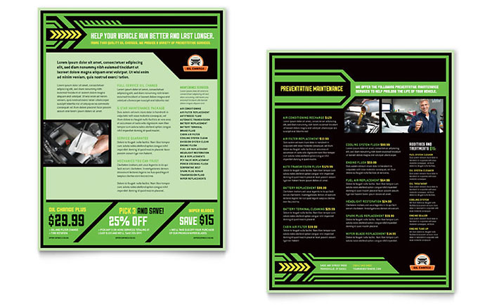 Oil Change Service Datasheet Design Sample