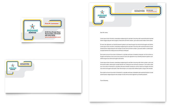 Moving Service Business Card & Letterhead Template Design Download - InDesign, Illustrator, Word, Publisher, Pages