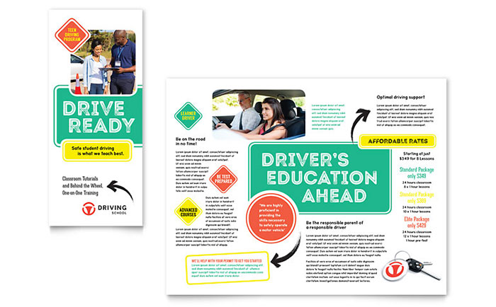 Driving School Brochure Template Design - School brochures templates