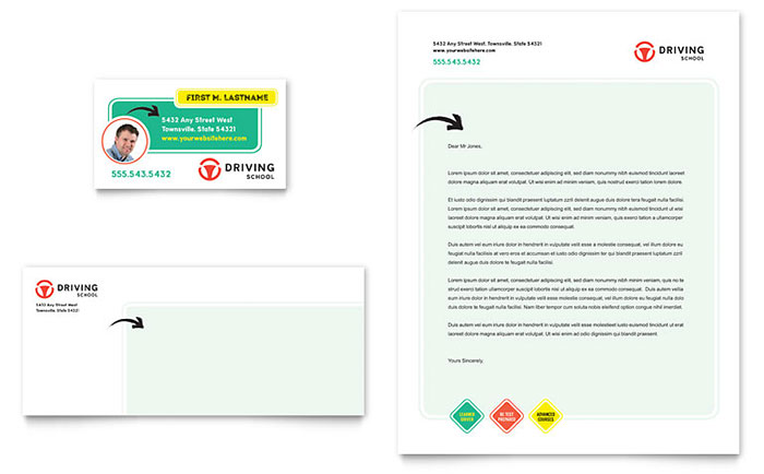 Driving School Business Card Letterhead
