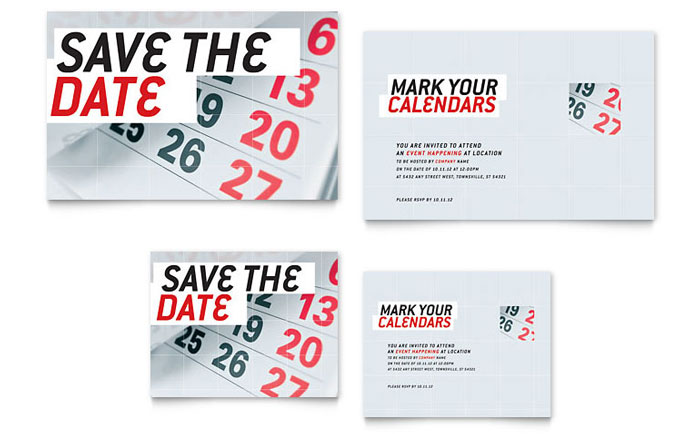 save the date note card template design