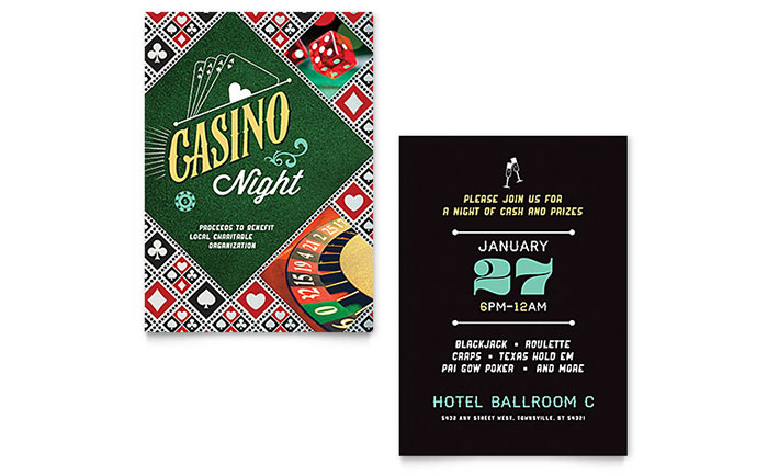 Casino Night   Sample Invitation Template  Corporate Invitation Template
