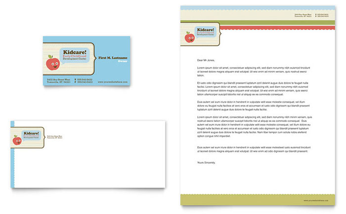 Child Development School Business Card & Letterhead Template Design Download - InDesign, Illustrator, Word, Publisher, Pages