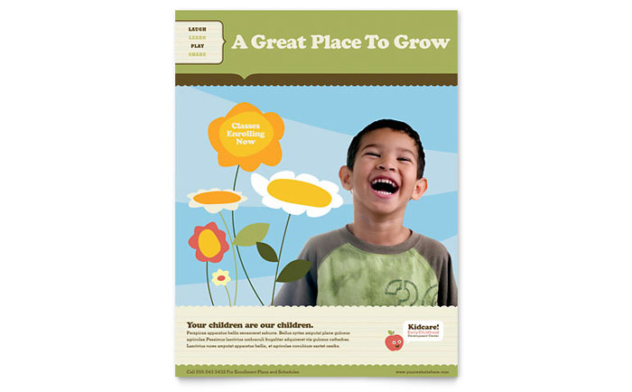 Child Development School Flyer Template Design Download - InDesign, Illustrator, Word, Publisher, Pages