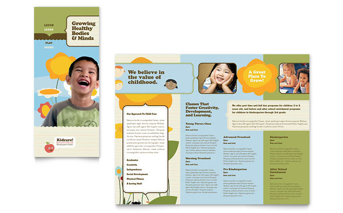 Child development school tri fold brochure template design for Free brochure templates for kids