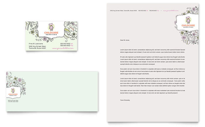 Babysitting daycare business card letterhead template design fbccfo Image collections