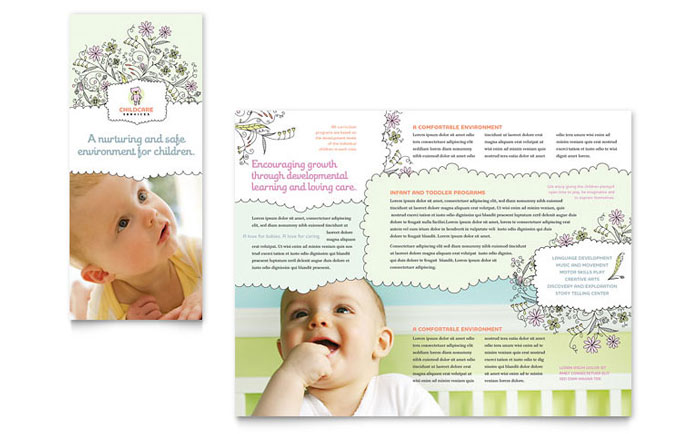babysitting  u0026 daycare tri fold brochure template design