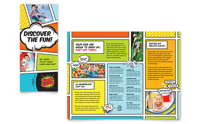 Kids club brochure template design for Free brochure templates for students