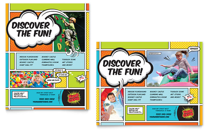 kids club poster template design - Brochure Templates For Kids