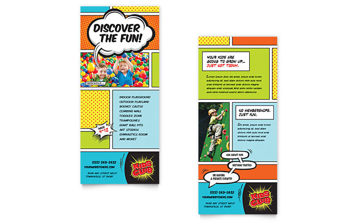 Kids Club Rack Card Template Design