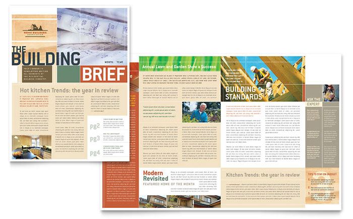 Home Builders Construction Newsletter Template Design