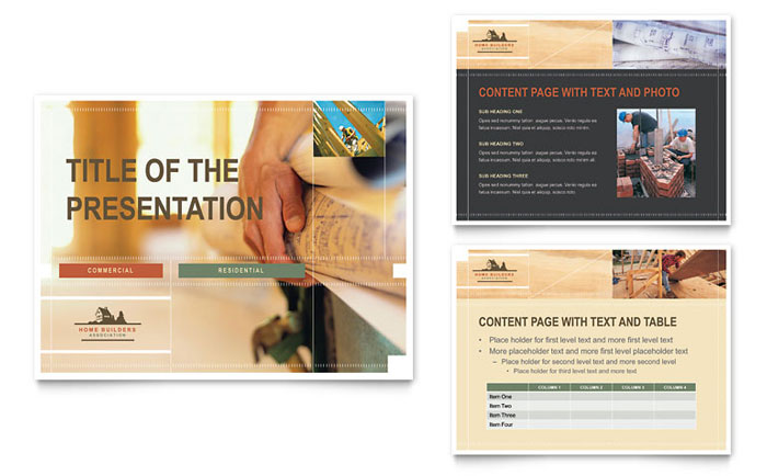 home builders & construction powerpoint presentation template design, Presentation templates