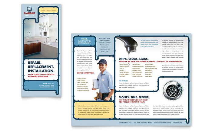 Plumbing Services Brochure Template Design Download - InDesign, Illustrator, Word, Publisher, Pages