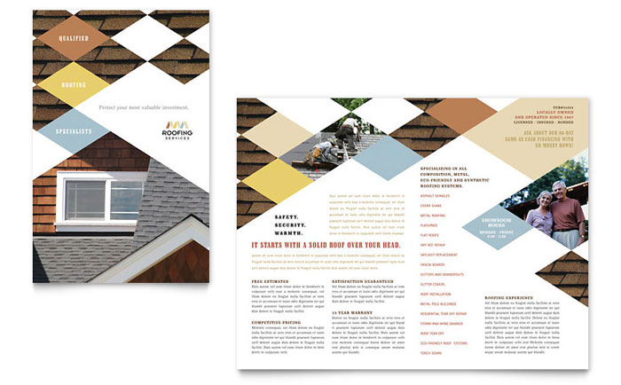 Roofing contractor brochure template design for Construction brochure design pdf