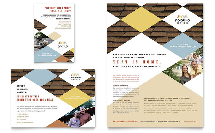Roofing Contractor Flyer & Ad Template Design Download - InDesign, Illustrator, Word, Publisher, Pages