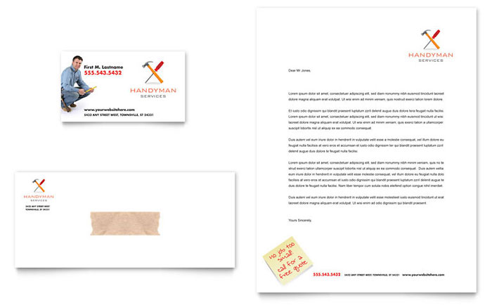 Handyman Services Business Card Letterhead Template Design - Handyman business card template