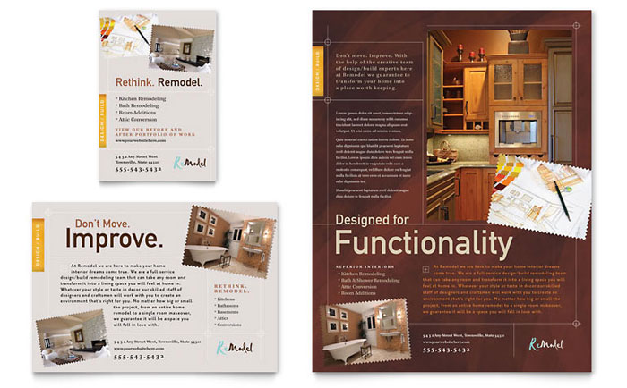 Home remodeling flyer ad template design for Construction brochure design pdf