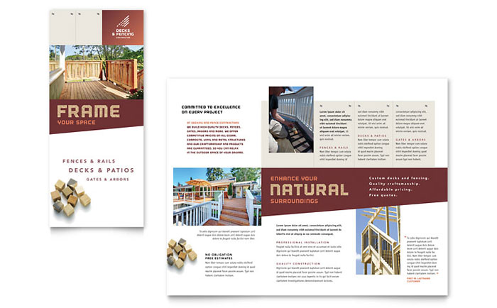 decks  u0026 fencing brochure template design
