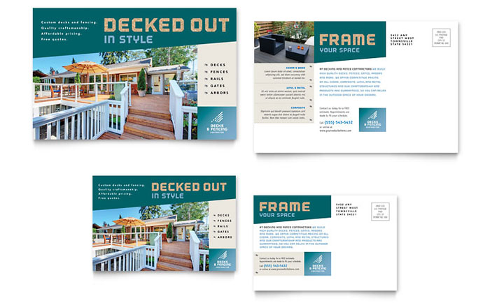 Decks & Fencing Postcard Template Design Download - InDesign, Illustrator, Word, Publisher, Pages