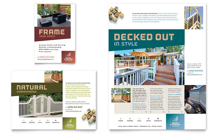Decks amp Fencing Flyer Ad Template Design